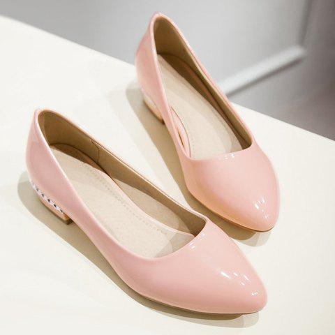 Trendy Simple Patent Leather and Pointed Toe Design Flat Shoes For Women - 37 PINK Mobile