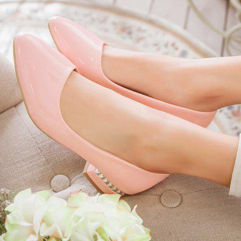Chic Simple Patent Leather and Pointed Toe Design Flat Shoes For Women - 37 PINK Mobile
