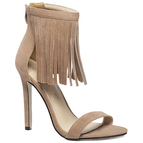 Latest Suede Lace Up Fringe Sandals - 38 APRICOT Mobile