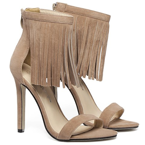 New Suede Lace Up Fringe Sandals - 38 APRICOT Mobile