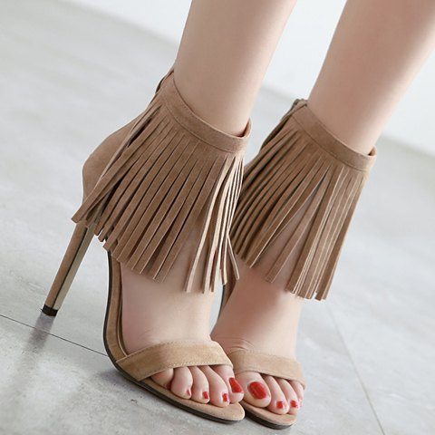 New Suede Lace Up Fringe Sandals - 37 APRICOT Mobile