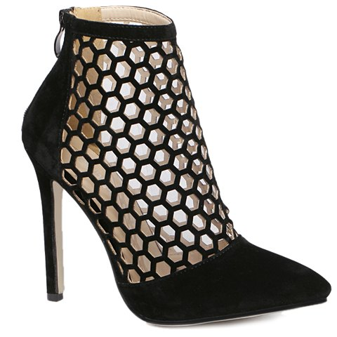 New Fashion Hollow Out and Pointed Toe Design Pumps For Women - 36 BLACK Mobile
