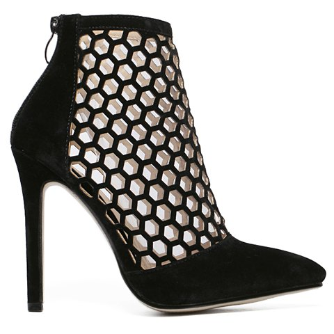 Latest Fashion Hollow Out and Pointed Toe Design Pumps For Women - 38 BLACK Mobile