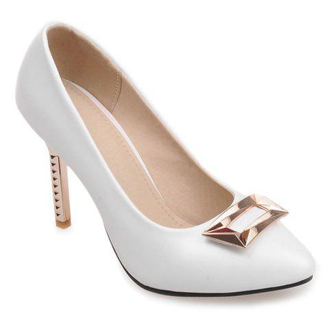 Unique Pretty Metal and PU Leather Design Pumps For Women