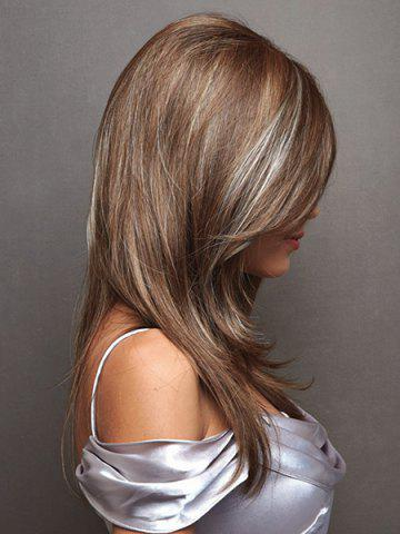Hot Charming White Highlight Long Synthetic Fluffy Natural Straight Side Parting Wig For Women - COLORMIX  Mobile