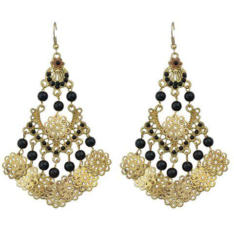 Pair of Retro Floral Hollow Out Beads Earrings - BLACK