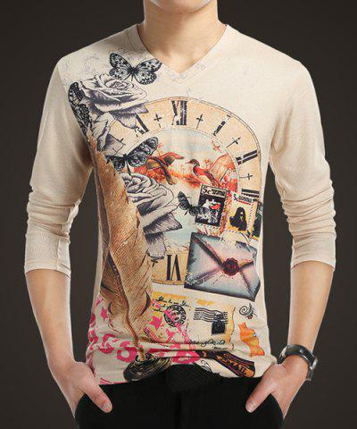V Neck Printed Long Sleeve T Shirt For Men 172582701
