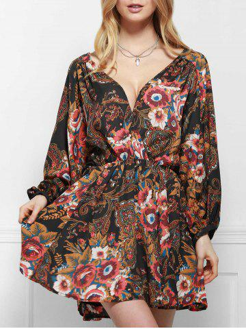 Chic Stylish V-Neck Long Sleeve Printed Elastic Waist Dress For Women COLORMIX L