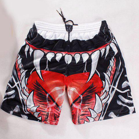 Online Straight Leg Breathable 3D Oral Cavity Pattern Drawstring Men's Board Shorts