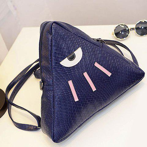 Latest Cute PU Leather and Triangle Design Backpack For Women - BLUE  Mobile