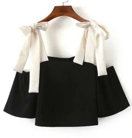 New Sexy Square Neck Color Block 3/4 Sleeve Blouse For Women BLACK S