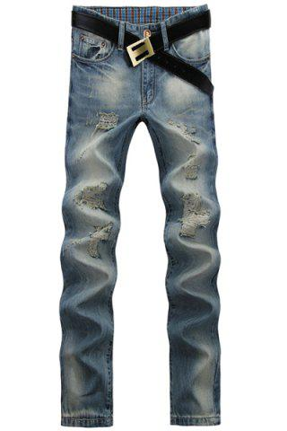 Outfits Casual Ripped Design Middle-rise Zip Fly Straight Legs Denim Pants For Men
