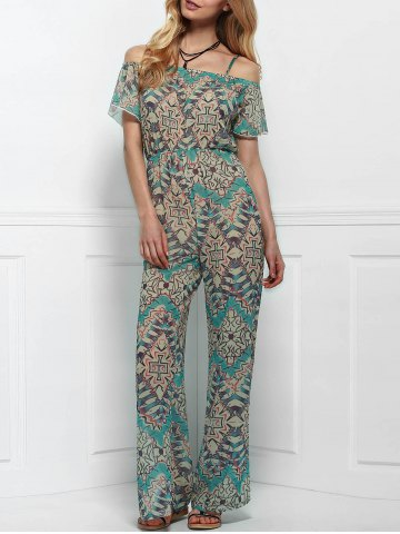 Latest Vintage Printed Short Sleeve Backless Side Slit Wide-Leg Jumpsuit For Women