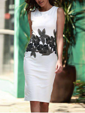 Unique Brief Style Round Neck Sleeveless Floral Print Sheathy Dress For Women WHITE L