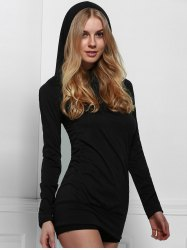 Trendy Black Hooded Finger Hollow Out Long Sleeve Bodycon Dress For Women -