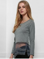 Charming Scoop Neck Long Sleeve Solid Color Lace Spliced Hem T-Shirt For Women