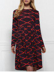 Round Neck Printed Long Sleeve A Line Dress - DEEP RED