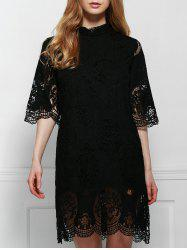 Elegant Stand-Up Collar 3/4 Sleeve Solid Color Lace Dress For Women -