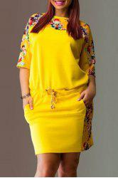 Chic Round Neck 3/4 Sleeves Floral Print Plus Size Women's Dress