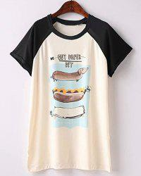 Casual Scoop Neck Cartoon Print Short Sleeve T-Shirt For Women - WHITE AND BLACK L