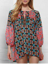 Ethnic Round Neck Long Sleeve Printed Lace-Up Blouse For Women