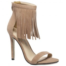 Suede Lace Up Fringe Sandals - APRICOT