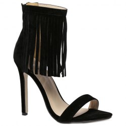 Suede Lace Up Fringe Sandals