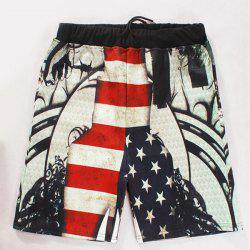 Straight Leg Breathable Stars Print Color Block Stripes Drawstring Men's Board Shorts