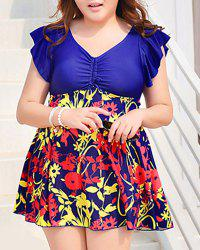 Sexy Short Sleeves V-Neck Hollow Out Women's One-Piece Swimsuit -