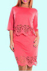 Plus Size Openwork Fitted Two Piece Dress