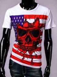 USA Flag and Skull 3D Print Round Neck Short Sleeve T-Shirt For Men