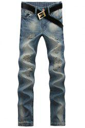 Casual Ripped Design Middle-rise Zip Fly Straight Legs Denim Pants For Men -