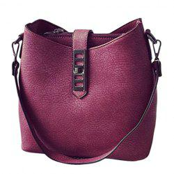 Trendy Solid Color and PU Leather Design Shoulder Bag For Women - WINE RED