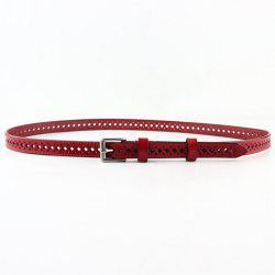 Fashionable PU Solid Color Square Shape Hollow Out Skinny Belt For Women -