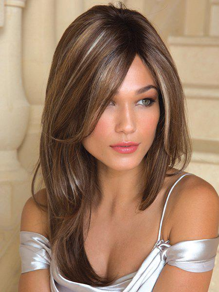 Buy Charming White Highlight Long Synthetic Fluffy Natural Straight Side Parting Wig For Women
