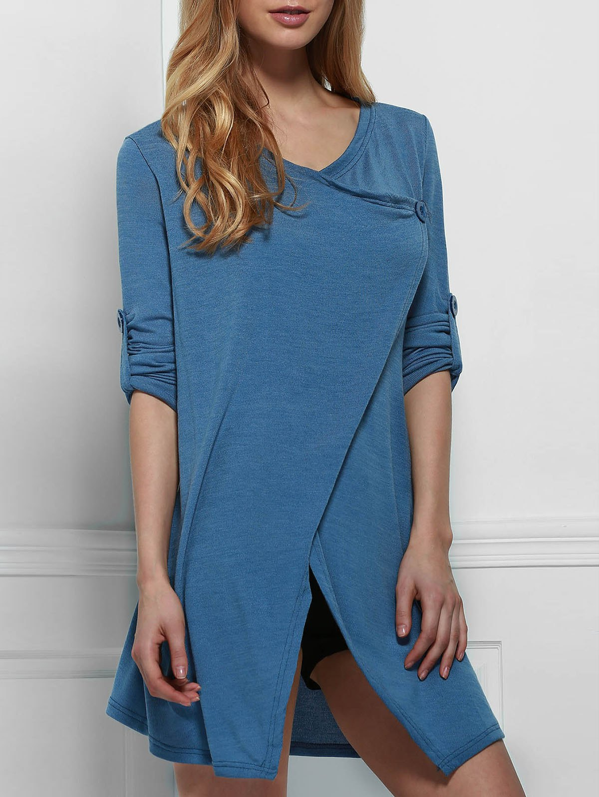 Elegant Cowl Neck Solid Color Slit Asymmetric Pullover Sweater For WomenWOMEN<br><br>Size: ONE SIZE(FIT SIZE XS TO M); Color: BLUE; Type: Pullovers; Material: Polyester; Sleeve Length: Full; Collar: Cowl Neck; Style: Fashion; Weight: 0.324kg; Package Contents: 1 x Sweater;
