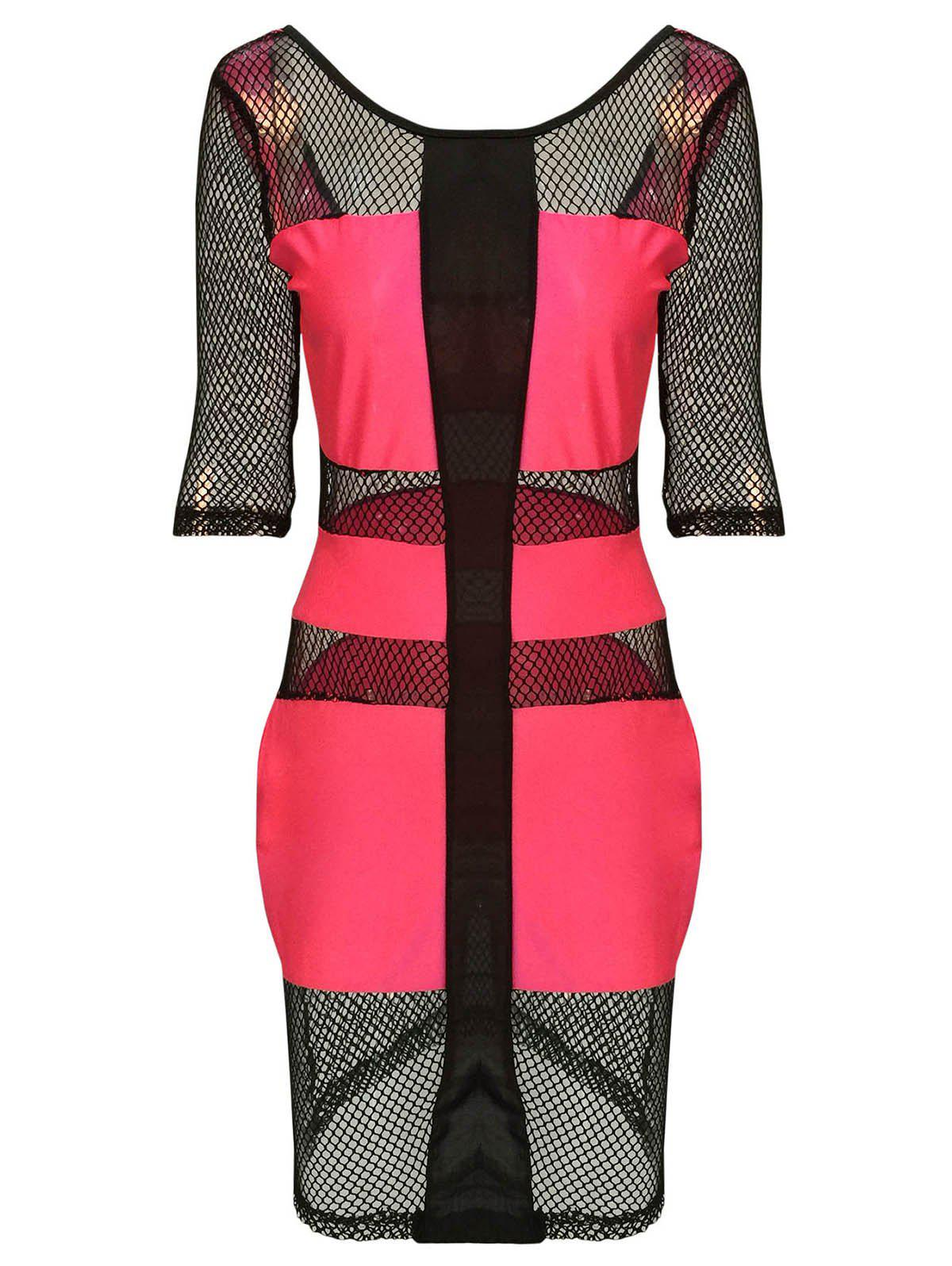 Trendy Sexy Scoop Neck Half Sleeve Mesh Design Hollow Out Bodycon Dress For Women