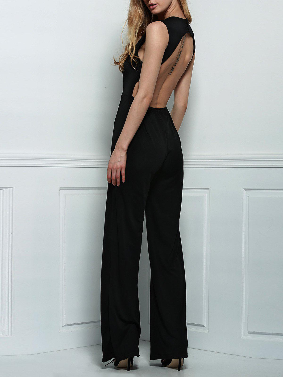 Fashion Sexy Plunging Neck Sleeveless Backless Black Jumpsuit For Women