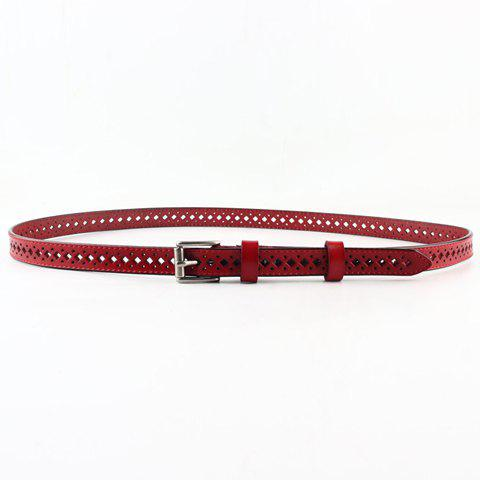Online Fashionable PU Solid Color Square Shape Hollow Out Skinny Belt For Women