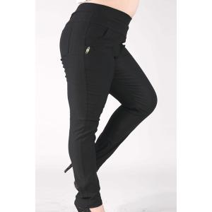 Fashionable High-Waisted Stretchy Plus Size Pants For Women - BLACK 2XL