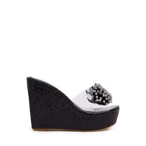 Bling Bling Rhinestone and Wedge Heel Design Slippers For Women - Black - 37