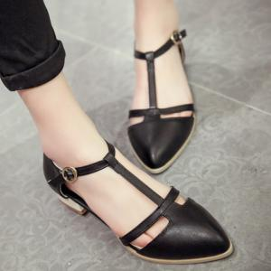 T Strap Cut Out Ballet Flats - BLACK 36