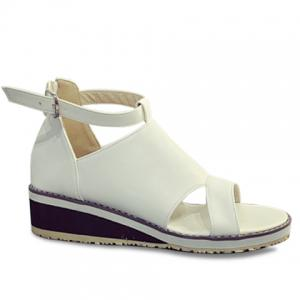 Fashion Wedge Heel and PU Leather Design Sandals For Women - White - 39