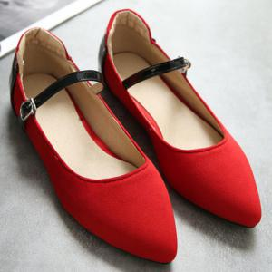 Stylish Color Block and Suede Design Flat Shoes For Women - RED 39