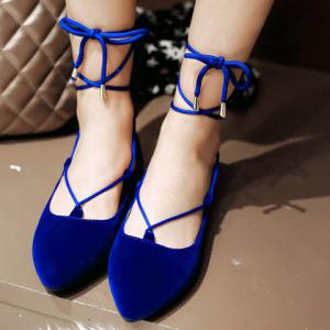 Sweet Pointed Toe and Tie Up Design Flat Shoes For Women -