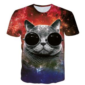 Round Neck 3D Cat Pattern Starry Sky Print Short Sleeve Men's T-Shirt - Black - L