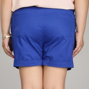 Casual Solid Color Plus Size Shorts For Women -