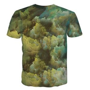 Round Neck 3D Abstract Face Pattern Short Sleeve Men's T-Shirt -