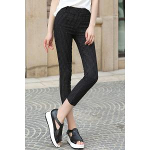 Chic High-Waisted Stretchy Striped Button Design Women's Ankle Pants -