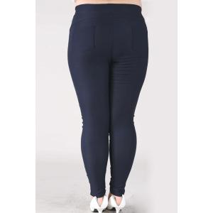 Casual High-Waisted Lace Embellished Plus Size Pants For Women - NAVY BLUE 2XL